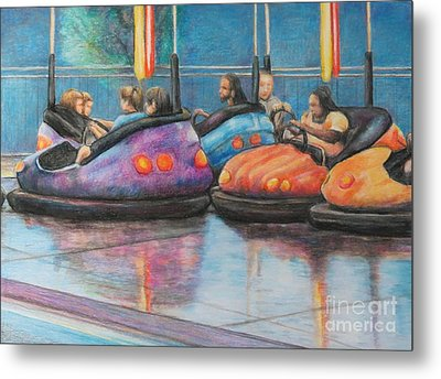 Bumper Car Traffic Jam Metal Print by Charlotte Yealey