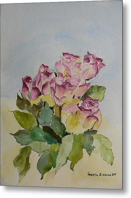 Metal Print featuring the painting Bunch Of Roses by Geeta Biswas