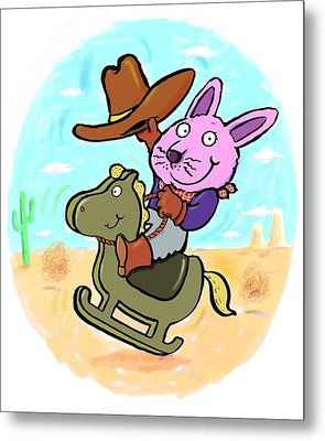 Bunny Cowboy Metal Print by Scott Nelson