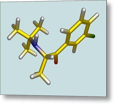 Bupropion Drug Molecule Metal Print by Dr Tim Evans