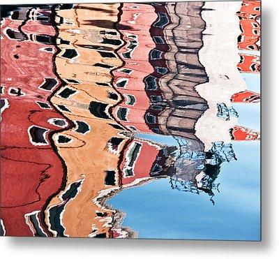 Burano Venice Italy Photograph Blue White Orange Wall Art Metal Print by Artecco Fine Art Photography