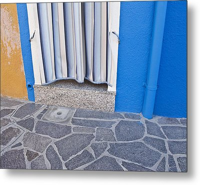 Metal Print featuring the photograph Burano Venice Italy Photograph Blue White Orange Wall Art by Artecco Fine Art Photography