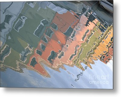 Burano House Reflections Metal Print by Rebecca Margraf