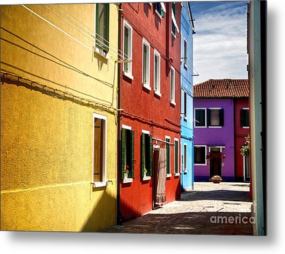 Burano Island - Colorful Houses Metal Print by Gregory Dyer