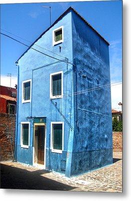 Burano Island - Strange Blue House Metal Print by Gregory Dyer
