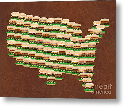 Burger Town Usa Map Brown Metal Print by Andee Design