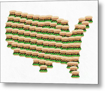Burger Town Usa Map White Metal Print by Andee Design