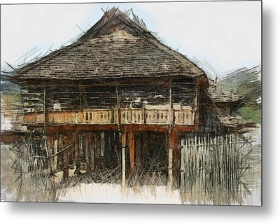 Burmese Village House 1 Metal Print