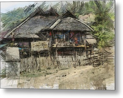 Burmese Village House 2 Metal Print