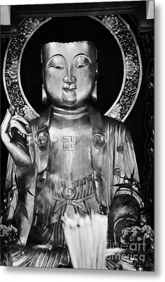 Burning Incense In A Buddhist Temple Sha Tin Hong Kong China Metal Print by Joe Fox