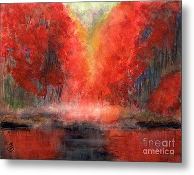 Burning Lake Metal Print by Yoshiko Mishina