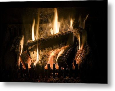 Burning Wood On An Open Fire Metal Print by Sheila Terry