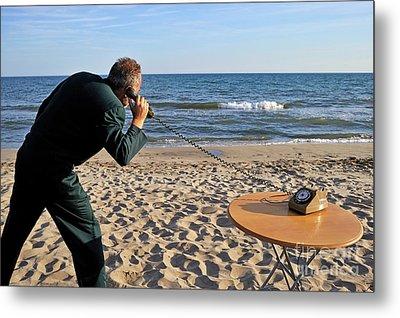 Businessman On Beach With Landline Phone Metal Print by Sami Sarkis
