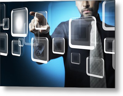 Businessman Touching Screen Button Metal Print by Setsiri Silapasuwanchai