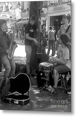 Busking Brussels Metal Print by Jennifer Sabir