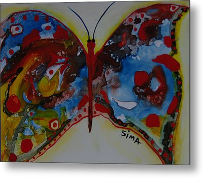 Butter Fly Metal Print by Sima Amid Wewetzer