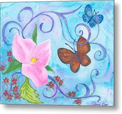 Butterflies And Flowers Metal Print by Denise Hoag