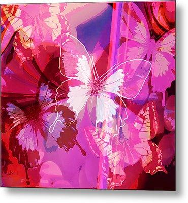 Butterflies En Rouge Metal Print by Jan Steadman-Jackson
