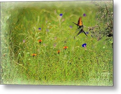 Butterflies Making Love In The Meadow Metal Print