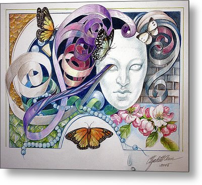 Butterflies With Mask Metal Print by Elizabeth Shafer