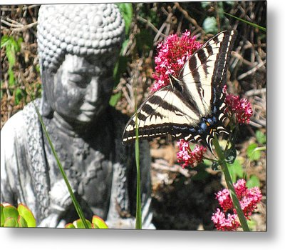 Metal Print featuring the photograph Butterfly And Buddha by Sue Halstenberg