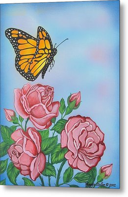 Butterfly And Roses Metal Print by Margaret Stoller