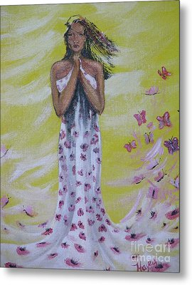 Metal Print featuring the painting Butterfly by Barbara Hayes