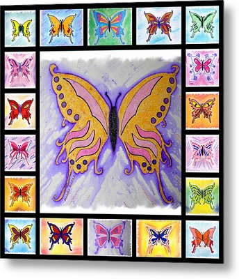 Butterfly Collage Metal Print by Mark Schutter