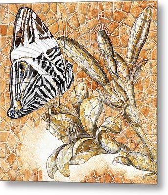 Metal Print featuring the painting Butterfly Mosaic 02 Elena Yakubovich by Elena Yakubovich