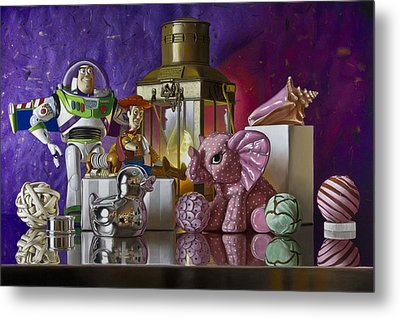 Buzz With Pink Elephant Metal Print