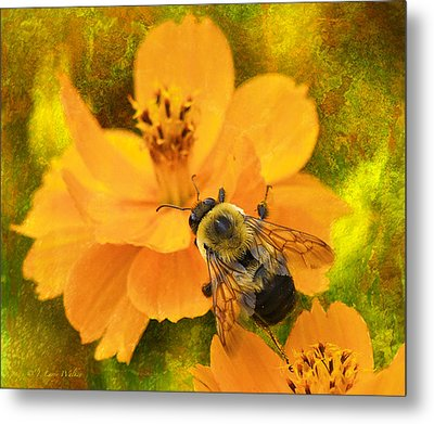 Buzzy The Honey Bee Metal Print by J Larry Walker