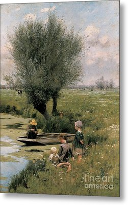 By The Riverside Metal Print by Emile Claus