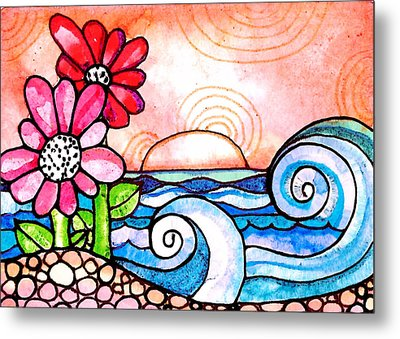By The Shore Metal Print by Robin Mead