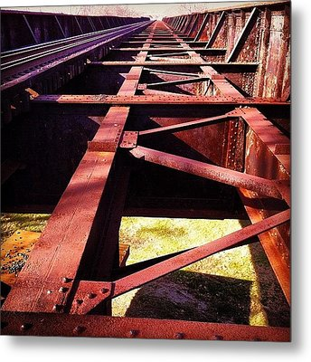 By The Train Tracks Metal Print