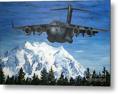 C-17 And Mt. Rainier Metal Print