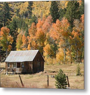 Cabin In Autumn Metal Print
