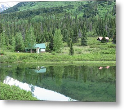 Cabin Living Reflections Metal Print