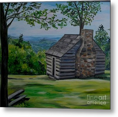Metal Print featuring the painting Cabin On The Blue Ridge Parkway In Va by Julie Brugh Riffey