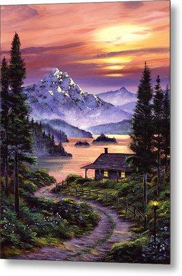 Cabin On The Lake Metal Print by David Lloyd Glover