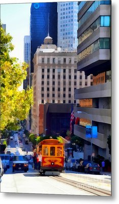 Cablecar On San Francisco California Street  . 7d7176 Metal Print by Wingsdomain Art and Photography