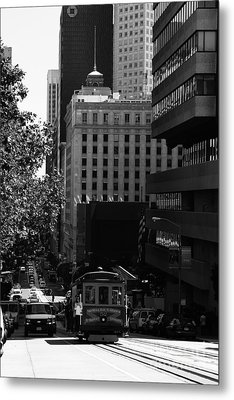 Cablecar On San Francisco California Street . Bw . 7d7176 Metal Print by Wingsdomain Art and Photography