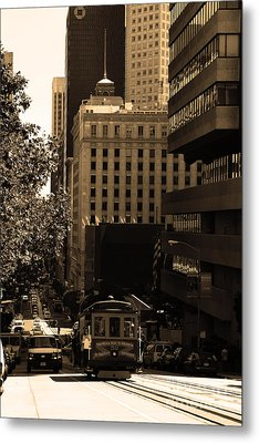 Cablecar On San Francisco California Street . Sepia . 7d7176 Metal Print by Wingsdomain Art and Photography