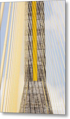 Cables And Tower Of Cable Stay Bridge Metal Print by Jeremy Woodhouse