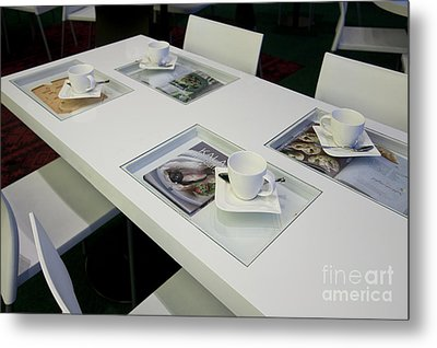 Cafe Table With Cookbooks Metal Print by Jaak Nilson