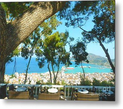 Cafe Terrace At Bohali Overlooking Zante Town Metal Print by Ana Maria Edulescu