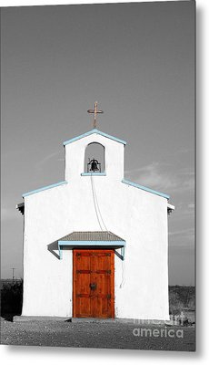 Calera Mission Chapel Facade In West Texas Color Splash Black And White Metal Print by Shawn O'Brien