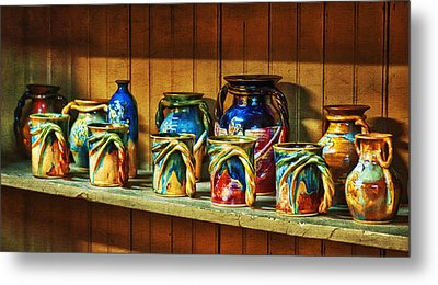 Calico Pottery Metal Print by Brenda Bryant