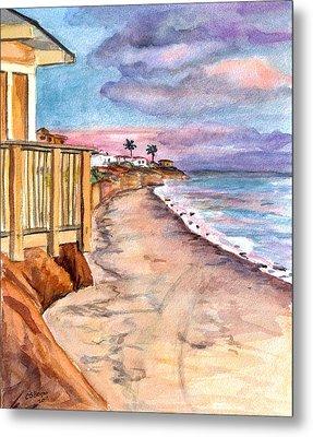 Metal Print featuring the painting California Coast by Clara Sue Beym