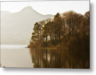 Calm Water With Mountains And Trees Metal Print by John Short