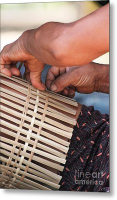 Metal Print featuring the photograph Cambodian Basket Weaver by Nola Lee Kelsey